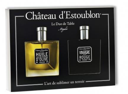 """Château d'Estoublon Geschenkbox """" Duo de Table"""" Olivenöl und Rotweinessig 2 x 100 ml"""
