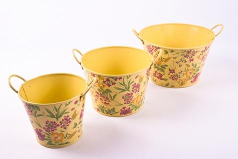 3tlg. Set runde Übertöpfe Petite Fleur, vanillegelb lackiertes Zinkblech mit Blumenaufdruck - Vorschau 5
