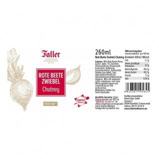 Brotaufstrich aus dem Schwarzwald Faller Rote Beete-Zwiebel Chutney 260 ml - Vorschau 2