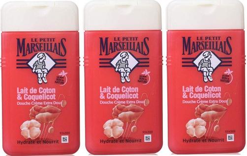 Le Petit Marseillais Duschgel mit Baumwollmilch und Mohn 3x250 ml aus Frankreich