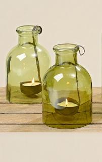 """Windlicht """" Senny"""" 2er Set, zwei gewölbte Flaschen mit Kerzenhalter H14cm D9cm"""