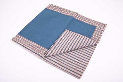 Tischläufer blau/braun/weiß 140 x 40 cm 100% Baumwolle Tischdecke - Vorschau 5