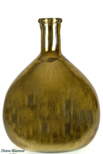 FeineHeimat Flasche / Vase Oliva, mundgeblasenes Glas olivgrün