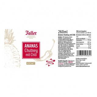 Brotaufstrich aus dem Schwarzwald Faller Ananas Chutney mit Chili 260 ml - Vorschau 2