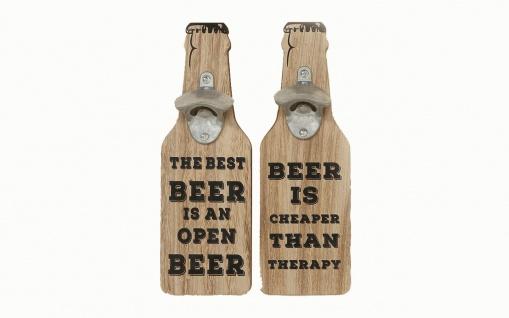 Flaschenöffner für die Wand 2er Set aus Holz / Metall mit lustigen Sprüchen
