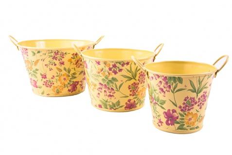 3tlg. Set runde Übertöpfe Petite Fleur, vanillegelb lackiertes Zinkblech mit Blumenaufdruck