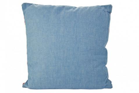 Kissen im Patchworkstil mit roter Zackenlitze, rot/weiß/blau, 100% Baumwolle, inkl. Füllung - Vorschau 2