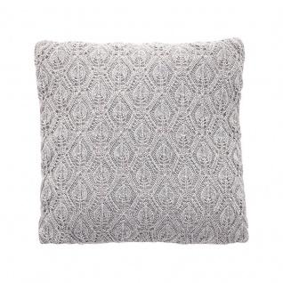 HÜBSCH 227004 Kissen mit Muster, grau, Lammwolle, incl. Füllung, 45x45cm