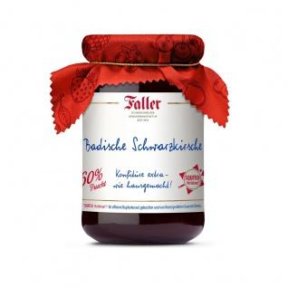 Marmelade aus dem Schwarzwald Faller Badische Schwarzkirsch-Konfitüre extra hausgemacht! mit 60% Frucht 330 Gramm
