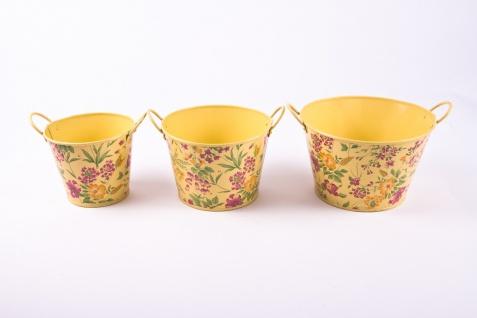 3tlg. Set runde Übertöpfe Petite Fleur, vanillegelb lackiertes Zinkblech mit Blumenaufdruck - Vorschau 3