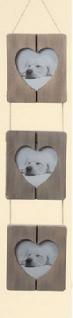 3 Bilderrahmen mit Herzausschnitt aus Holz in grau