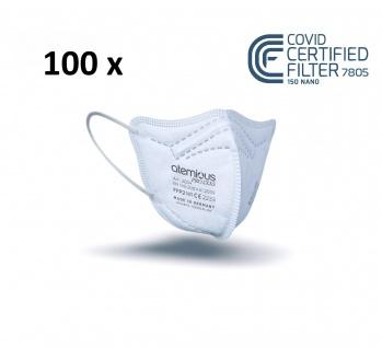 atemious PRO 2 XXS, 100 x FFP2 Maske für kleine Köpfe EN 149:2001+A1:2009 CE 2233 ACHTUNG! KLEINE PASSFORM
