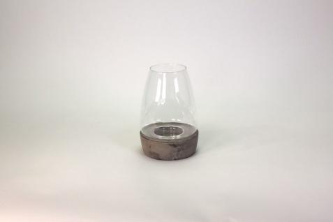 Windlicht zweiteilig aus Keramik und Glas 25 cm