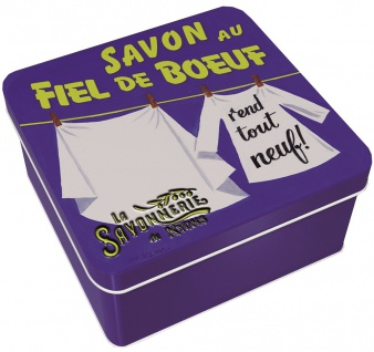 La Savonnerie De Nyons Seife in der Metalldose Gallseife Fleckenentferner 100 Gramm