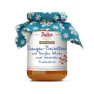 Marmelade aus dem Schwarzwald Faller Orangen-Preiselbeeren-Fruchtaufstrich mit Bourbon Whisky und Gewürzen 330 Gramm