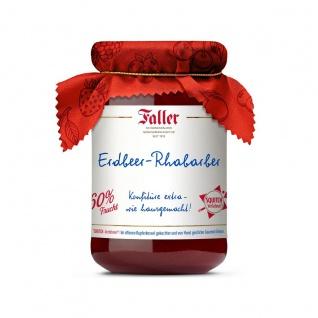 Marmelade aus dem Schwarzwald Faller Erdbeer-Rhabarber Konfitüre extra wie hausgemacht! mit 60% Frucht 330 Gramm
