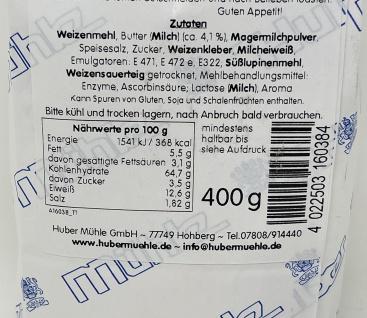 Huber Mühle aus dem Schwarzwald Buttertoast Backmischung 400 Gramm - Vorschau 4