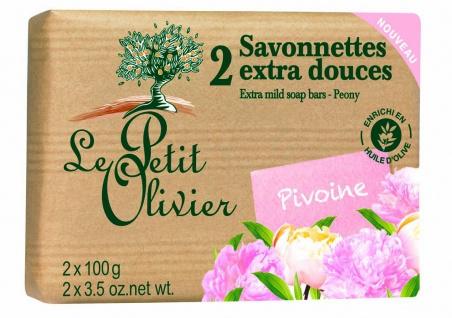 Le Petit Olivier Savonnettes extra douces Pivoine, Pfingstrose 2x100Gr. aus Frankreich