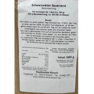Stadtmühle Elzach Fertig - Backmischung Schwarzwälder Bauernbrot 1, 0 KG 1391 - Vorschau 3