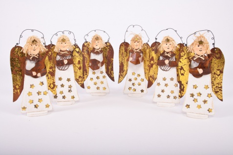 Engel aus Holz Engelorchester im 6er Set