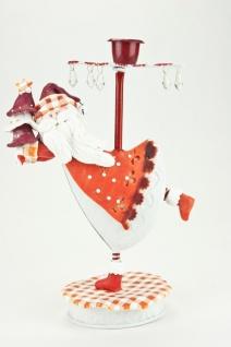 Kerzenhalter Santa Claus rot / weiß mit Acrylglasprismen