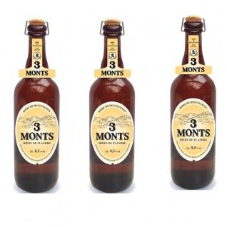 3 Monts Bière de Flandre helles obergähriges Starkbier 3 x 0, 75 Ltr. 8, 5 % mit Sektkorken
