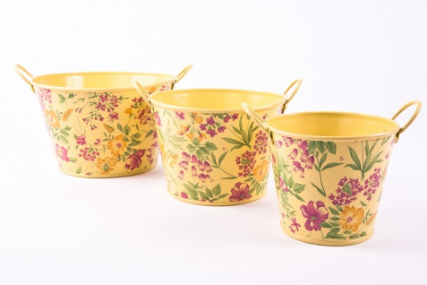 3tlg. Set runde Übertöpfe Petite Fleur, vanillegelb lackiertes Zinkblech mit Blumenaufdruck - Vorschau 2