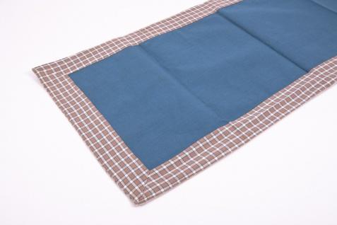 Tischläufer blau/braun/weiß 140 x 40 cm 100% Baumwolle Tischdecke - Vorschau 4