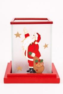 Hochwertiges Windlicht Nikolaus, satinierter Glaszylinder auf Holzteller im 2er Set