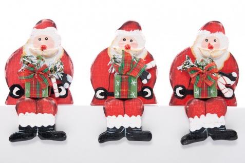 Kantenhocker Nikolaus Weihnachtsmann aus Holz beidseitig handgemalt im 6er Set