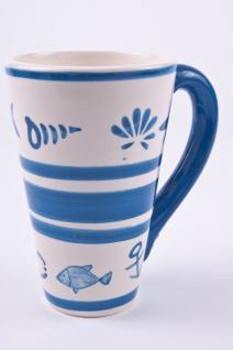 Trinkbecher Sea, blau-weiße Keramik im 3er Set