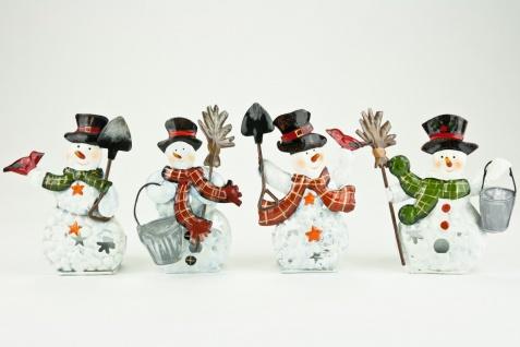 Teelicht Schneemann im 4er Set verschiedene Motive