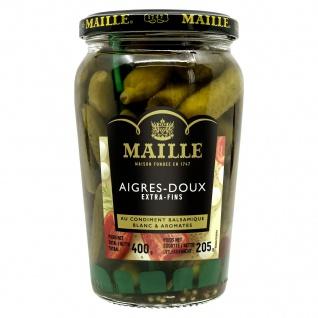 Maille Cornichons AIGRE extra fin. extrafeine süß-saure Gurken 400 Gramm Glas