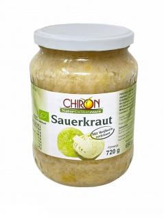 CHIRON Naturdelikatessen Bio Sauerkraut im Glas kbA 720 Gramm mit Weißwein verfeinert