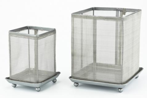 Lichtobjekt Windlicht Transparenz, silbergraue Metallgaze, 2tlg. Set Windlicht