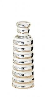 "Vase "" Joco"" silberfarbene Porzellanvase im modernem Design 25 x 10 cm"