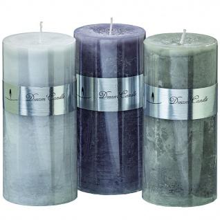 Boltze 3er Set Stumpelkerzen Dream Candle 2 im edlem Design 15cm Durchmesser 7 cm - Vorschau