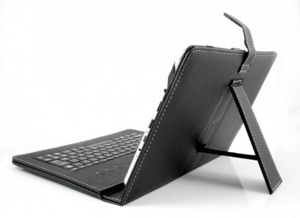 """Tablet PC Tasche aus Kunstleder USB Tastatur für 10"""" Android + Windows QWERTZ"""