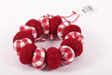 Stoffkränzchen aus wattierter Baumwolle Farbe rot weiß mit Aufhänger 3 Stck.