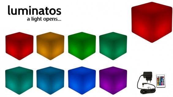 Luminatos C60, LED Cube / Hocker 60 cm beleuchtet mit Farbwechsel Fernbedienung Sitzwürfel