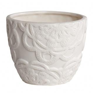 HÜBSCH 240003 Windlicht, weiß, Keramik, Muster, Ø10xh10cm