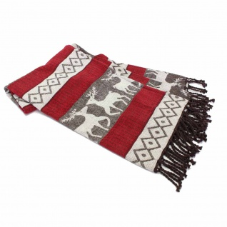 "FeineHeimat Jacquard Decke "" Reindeers & Checks"" 130 x 170 cm 100% Baumwolle"