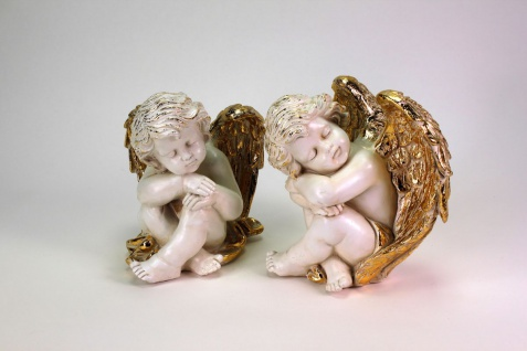 Zwei schlafende Engel Sweet Angels ca. 20cm weiss / gold