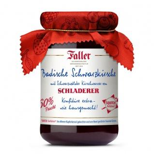 Marmelade aus dem Schwarzwald Faller Badische Schwarzkirsch-Konfitüre extra mit SCHLADERER Kirschwasser wie hausgemacht! mit 60% Frucht 330 Gramm