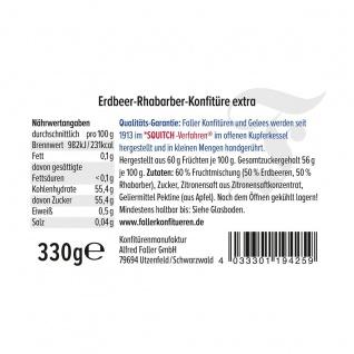Marmelade aus dem Schwarzwald Faller Erdbeer-Rhabarber Konfitüre extra wie hausgemacht! mit 60% Frucht 330 Gramm - Vorschau 2