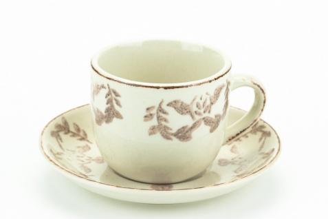 Espressotasse Chalet, cremeweißes Porzellan mit taupefarbenem Dekor 6er Set - Vorschau 2