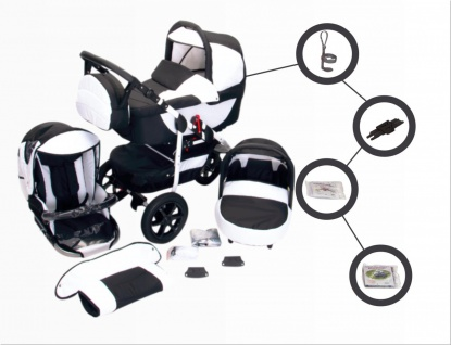 Jackmar Jacky | Luftreifen in Schwarz | 4 in 1 Kinderwagen Set + ISOFIX