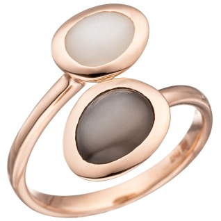 Damen Ring 585 Gold Rotgold 2 Mondsteine Goldring Rotgoldring Mondstein