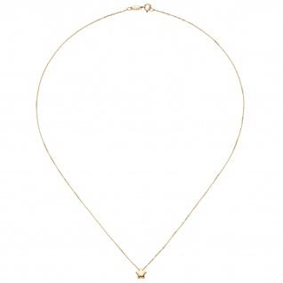 Collier Halskette mit Anhänger Stern 375 Gold Gelbgold 42 cm Kette
