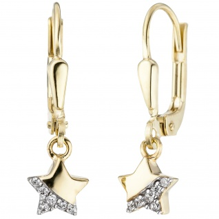 Kinder Ohrhänger Stern 375 Gold Gelbgold 12 Zirkonia Ohrringe Kinderohrringe